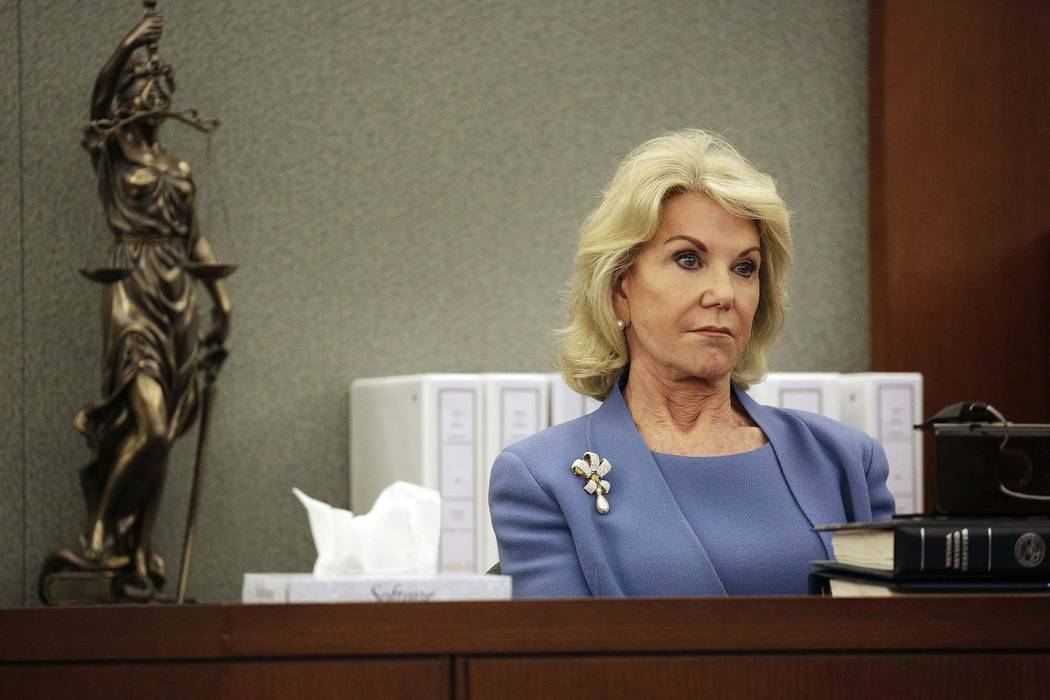 Elaine Wynn, ex-wife of Steve Wynn, listens during a hearing Wednesday, March 28, 2018, in Las Vegas. Elaine Wynn has accused her ex-husband and others of getting her off the company's board of di ...