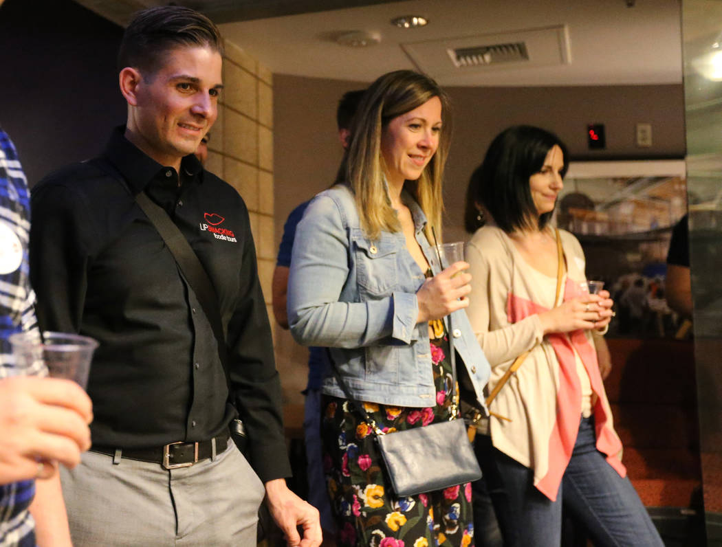Lip Smacking Foodie Tours President Donald Contursi, left, with Kira Stasiuk, center, and Melissa Stasiuk watch a rehearsal on stage during a beverage stop at Inspire in downtown Las Vegas Friday, ...