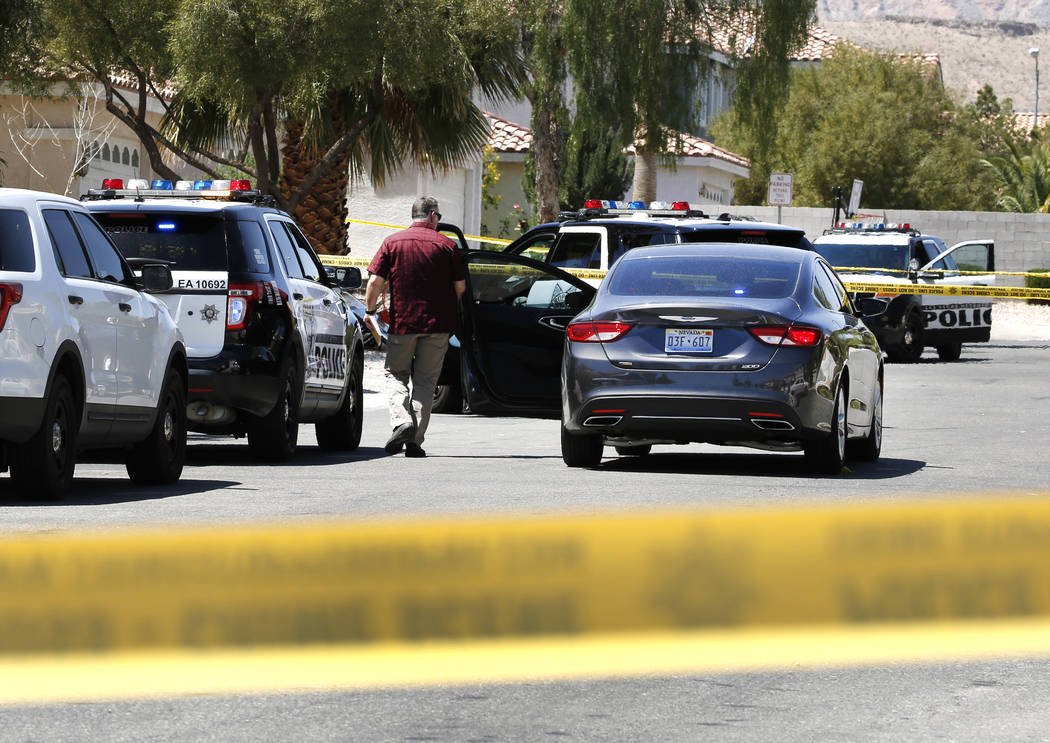 Las Vegas police are investigating after a person was shot to death on the 9700 block of Powell Plateau, near West Hacienda Avenue and South Grand Canyon Drive on Monday, April 23, 2018, in Las Ve ...