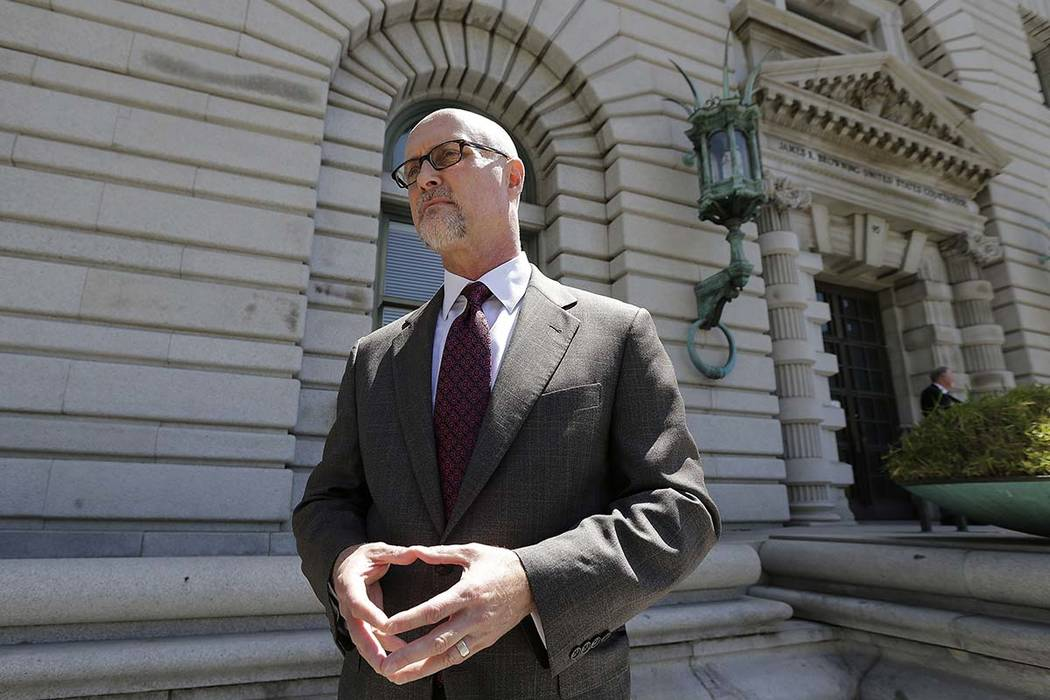 Jeffrey Kerr, general counsel to the People for the Ethical Treatment of Animals (PETA), speaks to reporters outside of the 9th U.S. Circuit Court of Appeals in San Francisco, in a file photo on W ...