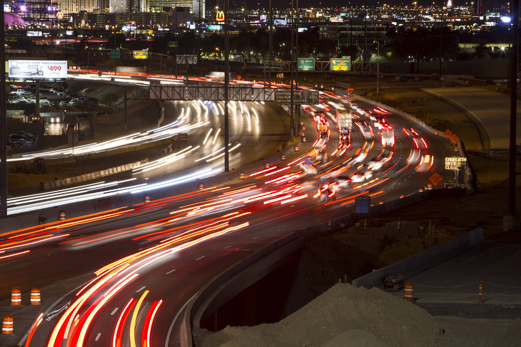 Traffic moves along Interstate 15 as seen from the Spaghetti Bowl in Las Vegas on Sunday, January 28, 2018. (Richard Brian/Las Vegas Review-Journal) @vegasphotograph