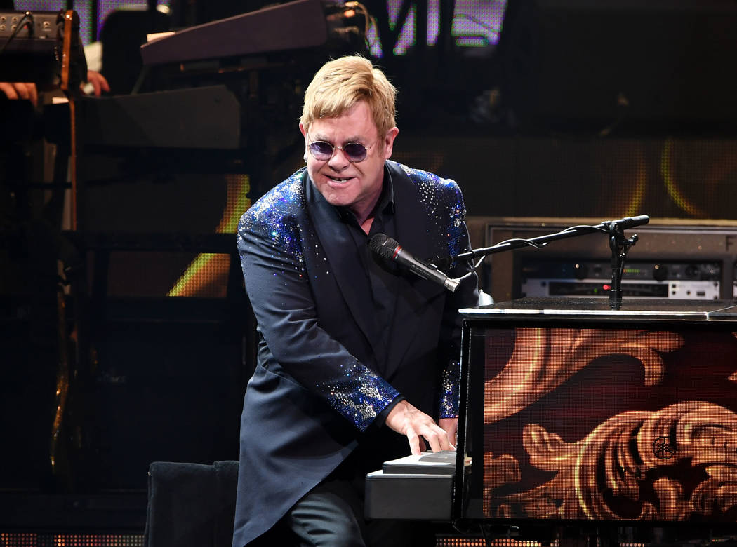 "Sir Elton John performs ""The Million Dollar Piano"" at The Colosseum at Caesars Palace on Saturday, Dec. 31, 2016, in Las Vegas. (Denise Truscello/WireImage)"