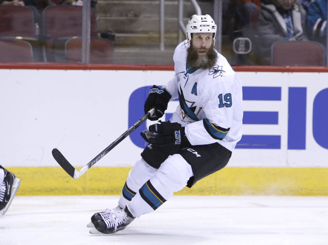 San Jose Sharks center Joe Thornton (19) in the first period during an NHL hockey game against the Arizona Coyotes, Tuesday, Jan. 16, 2018, in Glendale, Ariz. (AP Photo/Rick Scuteri)