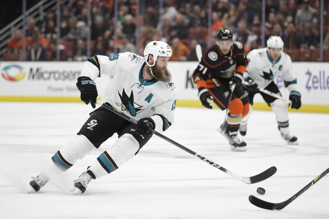 San Jose Sharks' Joe Thornton moves the puck during the first period of an NHL hockey game against the Anaheim Ducks Sunday, Jan. 21, 2018, in Anaheim, Calif. (AP Photo/Jae C. Hong)