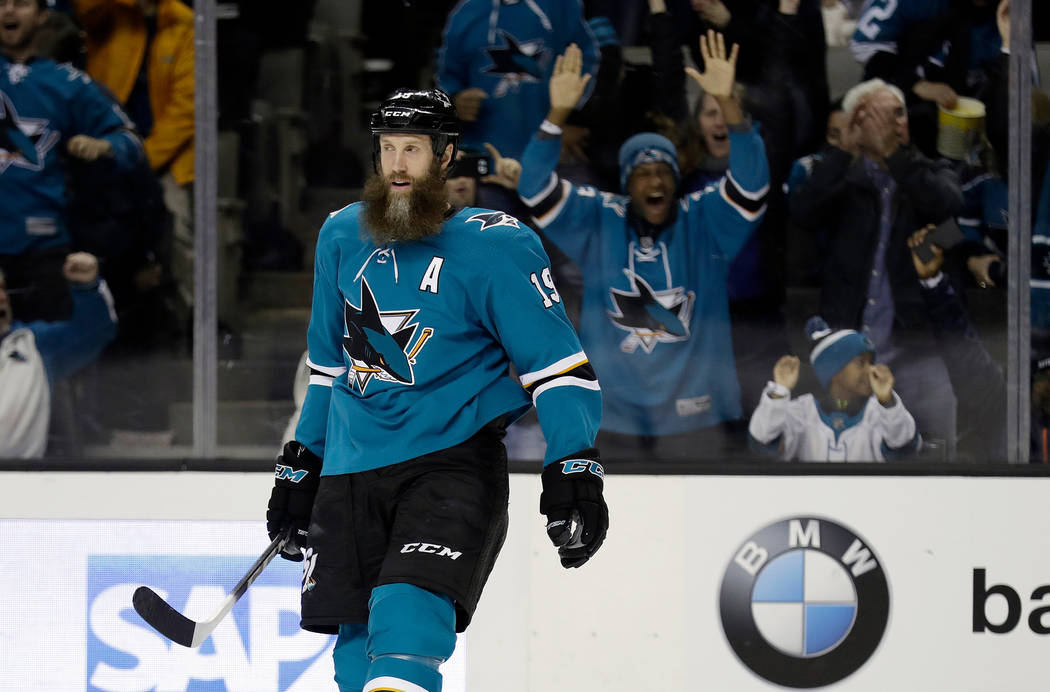 FILE - In this Dec. 21, 2017, file photo, San Jose Sharks center Joe Thornton smiles after scoring against the Vancouver Canucks during the first period of an NHL hockey game in San Jose, Calif. T ...
