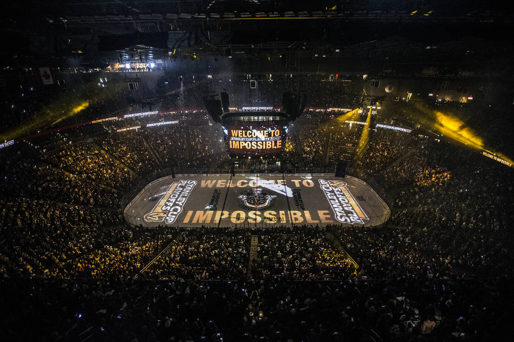 The Golden Knights and Los Angeles Kings take the ice before the start of game one of their first round playoff series on Wednesday, April 11, 2018, at T-Mobile Arena, in Las Vegas. Benjamin Hager ...