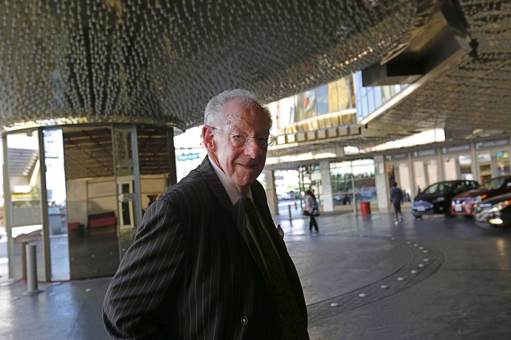 Former Las Vegas Mayor Oscar Goodman arrives at the Plaza downtown where he has a restaurant named after him. His high profile helps him promote the city for tourism under a $72,000 a year contrac ...