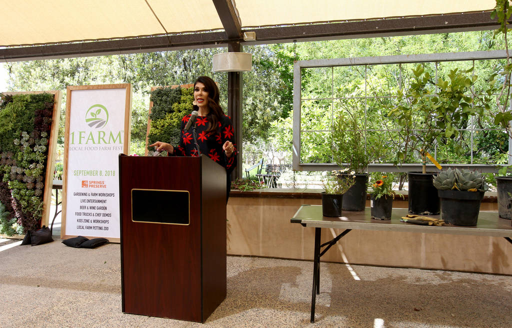 Mercedes Martinez of radio station Mix 94-1.-FM's ÒMercedes in the MorningÓ announces plans for the inaugural 1Farm Local Food Farm Festival, during a news conference at the Las Vegas Sp ...
