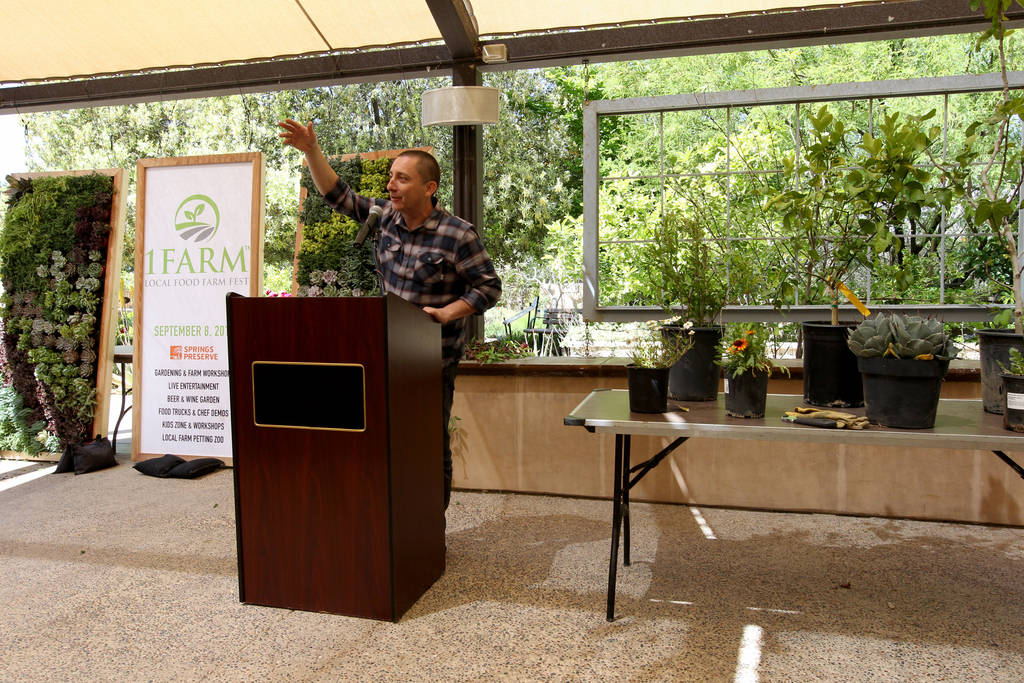Carlos Reynoso of Red Mercury Entertainment announces plans for the inaugural 1Farm Local Food Farm Festival, during a news conference at the Las Vegas Springs Preserve Thursday, April 19, 2018. T ...