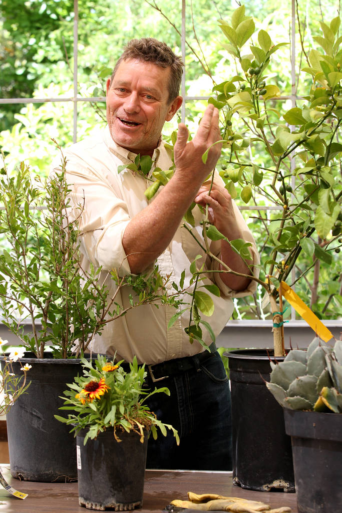 Norm Schilling, host of KNPRÕs Desert Bloom talks about plants that thrive in the desert during a news conference Thursday, April 19, 2018, announcing plans for the inaugural 1Farm Local Food ...