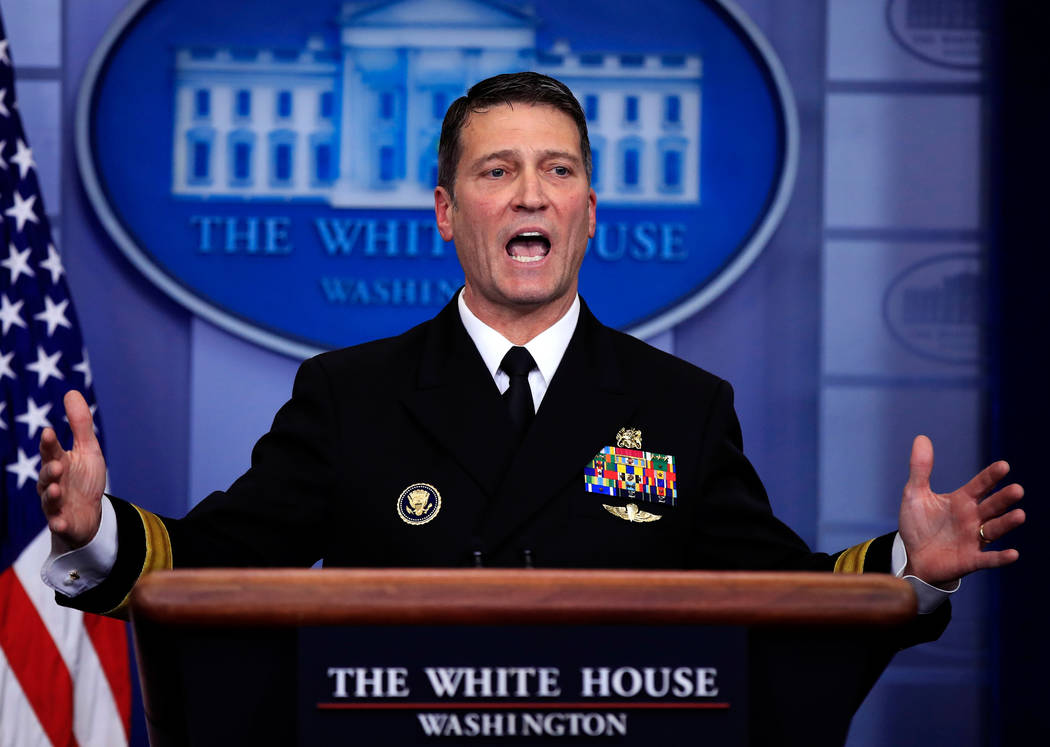 White House physician Dr. Ronny Jackson speaks to reporters during the daily press briefing in the Brady press briefing room at the White House, in Washington, Jan. 16, 2018. (Manuel Balce Ceneta/ ...