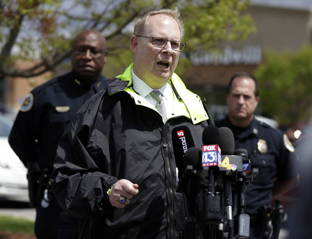 Don Aaron, public affairs manager for the Metro Nashville Police Department, speaks at a news conference Monday, April 23, 2018, in Nashville, Tenn., regarding the search for a gunman who opened f ...