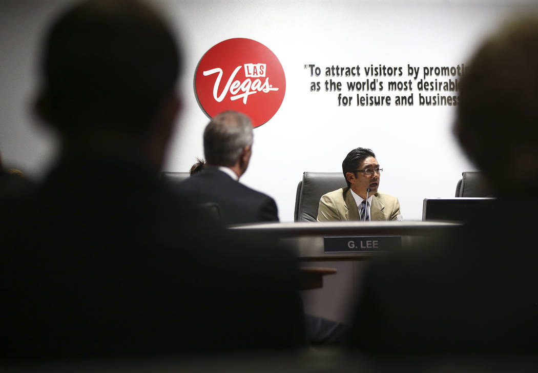 Las Vegas Convention and Visitors Authority board member Gregory Lee speaks during discussions about updating travel policies during a meeting of the LVCVA's audit committee at the Las Vegas Conve ...