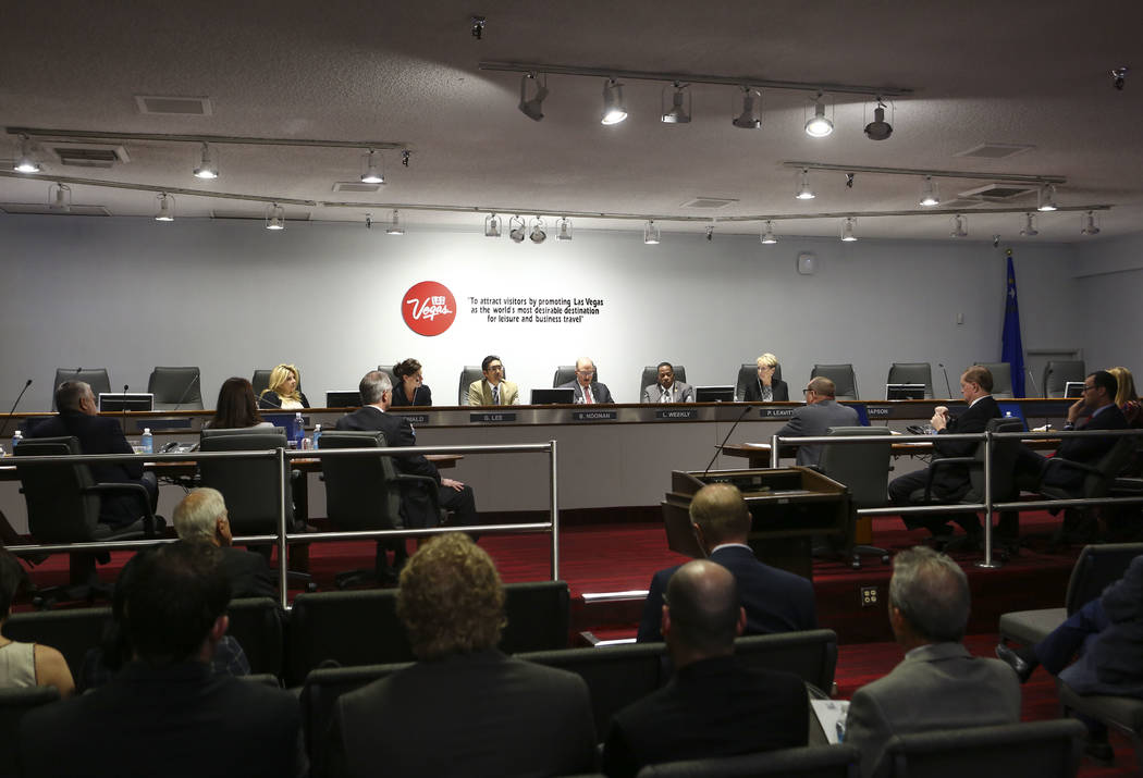 Members of the Las Vegas Convention and Visitors Authority's audit committee discuss updating travel policies during a meeting of the LVCVA's audit committee at the Las Vegas Convention Center on ...