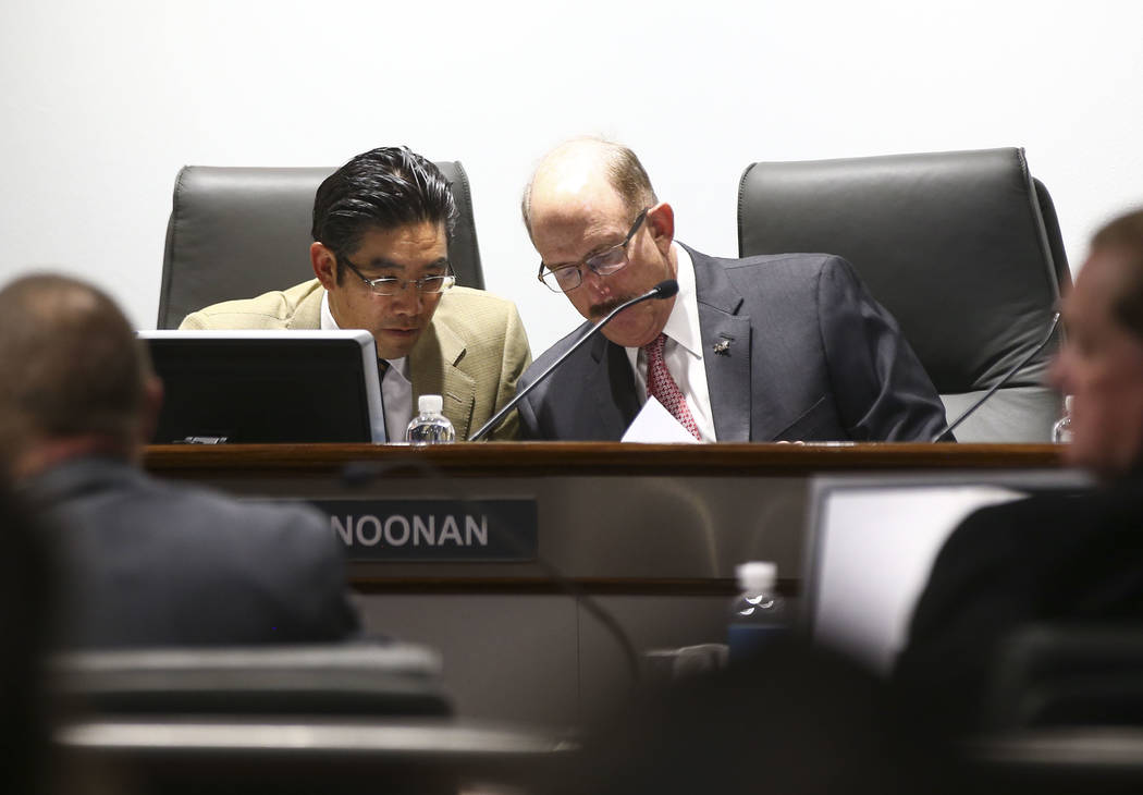 Las Vegas Convention and Visitors Authority board members Gregory Lee, left, and Bill Noonan talk after a meeting of the LVCVA's audit committee at the Las Vegas Convention Center on Wednesday, Ap ...