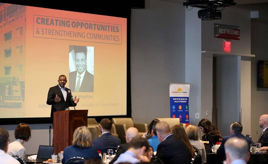 Former U.S. Secretary of Transportation and former Charlotte, N.C. Mayor Anthony Foxx speaks during a Transit-Oriented Development Symposium at UNLV Wednesday, April 25, 2018. K.M. Cannon Las Vega ...