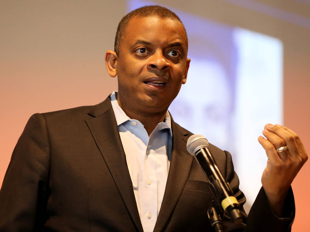 Former U.S. Secretary of Transportation and former Charlotte, N.C. Mayor Anthony Foxx speaks during a Transit-Oriented Development Symposium at UNLV Wednesday, April 25, 2018. K.M. Cannon Las Vega ...