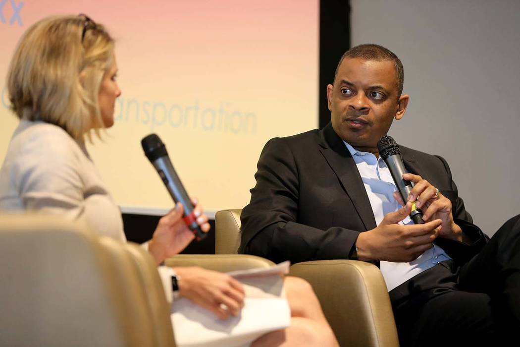 Former U.S. Secretary of Transportation and former Charlotte, N.C. Mayor Anthony Foxx and Regional Transportation Commission General Manager Tina Quigley during a Transit-Oriented Development Symp ...