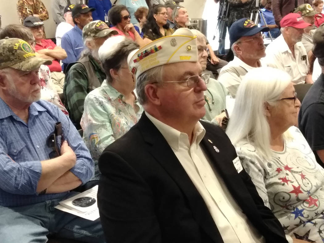 "Selwyn Harris/Pahrump Valley Times Pahrump Veteran Bill Dolan, in sport coat, along with wife Marilyn, listen to speakers at March 29th's Vietnam Veteran ""Welcome Home"" ceremony. Prior to the serv ..."