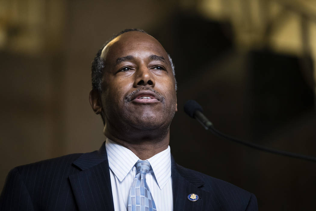 Housing and Urban Development Secretary Ben Carson speaks at Vaux Big Picture High School in Philadelphia, Sept. 19, 2017. Carson will be in Las Vegas on Wednesday, April 24, 2018, touring a cente ...