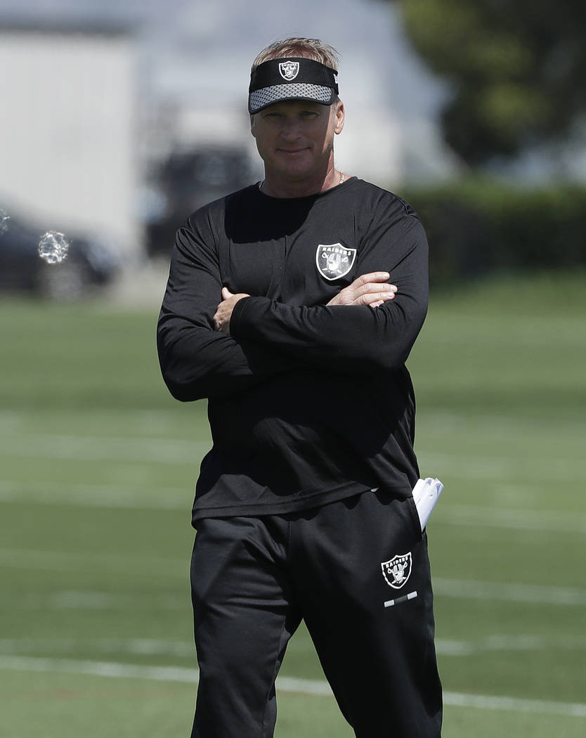 Oakland Raiders head coach Jon Gruden watches at the team's football facility in Alameda, Calif., Tuesday, April 24, 2018. (AP Photo/Jeff Chiu)