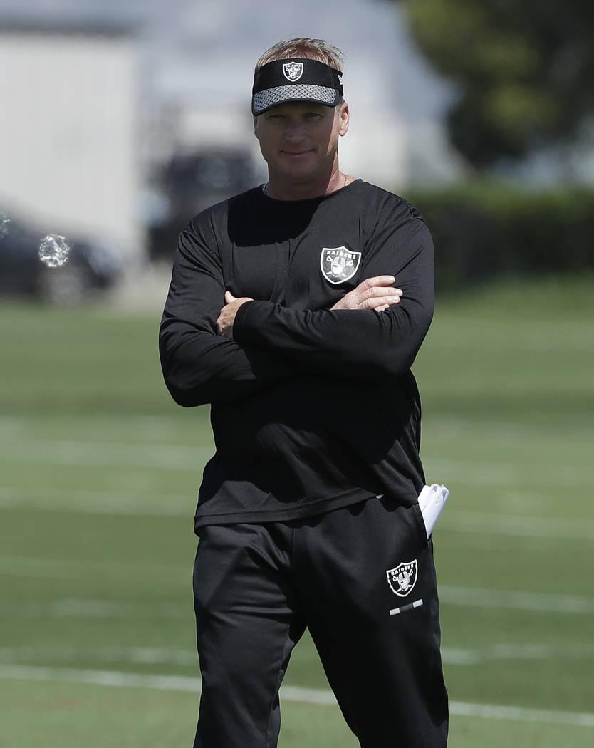 Oakland Raiders head coach Jon Gruden watches at the team's football facility in Alameda, Calif., Tuesday, April 24, 2018. (AP Photo/Jeff Chiu)