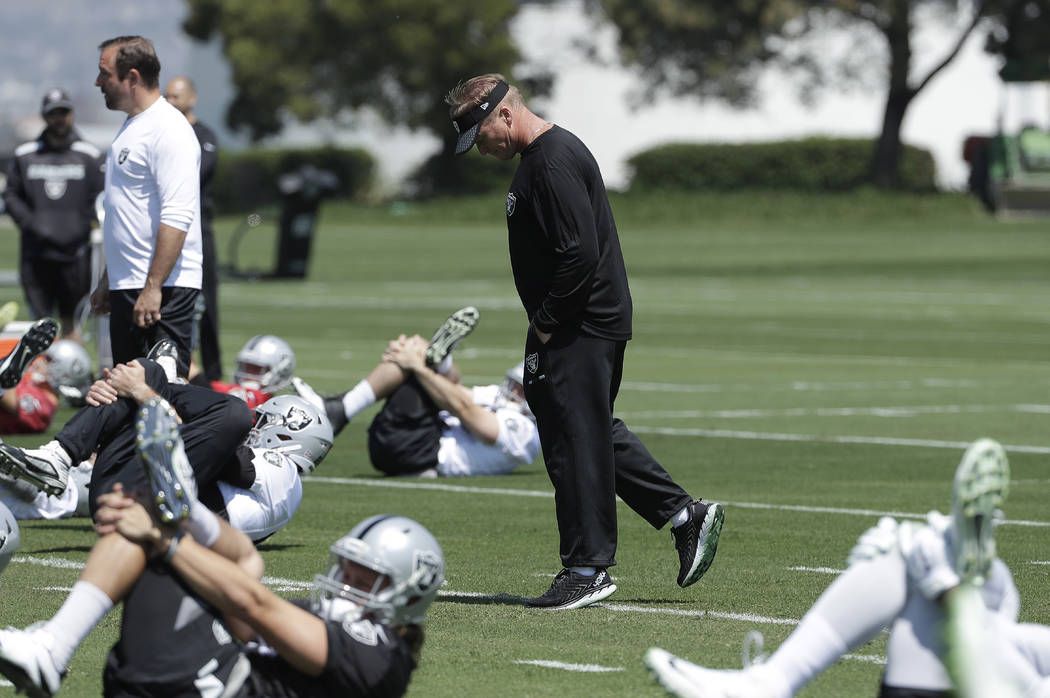 Oakland Raiders head coach Jon Gruden watches as players stretch at the team's football facility in Alameda, Calif., Tuesday, April 24, 2018. (AP Photo/Jeff Chiu)