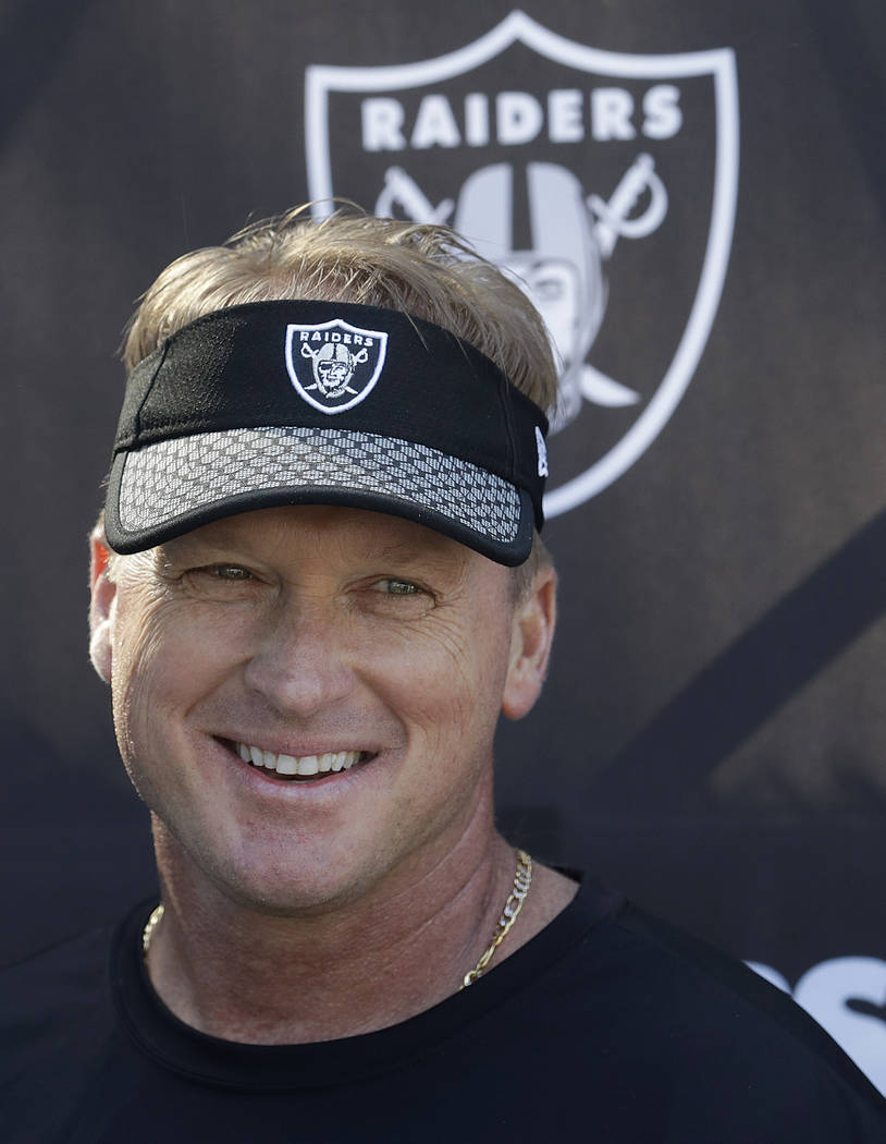 Oakland Raiders head coach Jon Gruden speaks to reporters at the team's football facility in Alameda, Calif., Tuesday, April 24, 2018. (AP Photo/Jeff Chiu)