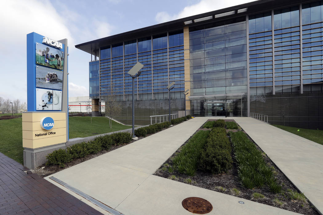 The NCAA headquarters is pictured, Wednesday, April 25, 2018, in Indianapolis. The Commission on College Basketball led by Former U.S. Secretary of State Condoleezza Rice, released a detailed 60-p ...