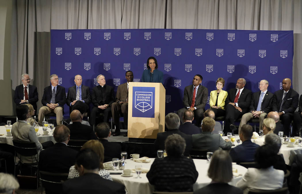 Former U.S. Secretary of State Condoleezza Rice speaks during a news conference at the NCAA headquarters, Wednesday, April 25, 2018, in Indianapolis. The Commission on College Basketball led by Ri ...