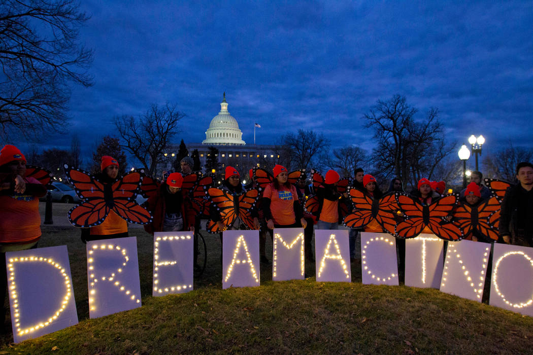 In this Jan. 21, 2018, file photo, demonstrators rally in support of Deferred Action for Childhood Arrivals (DACA) outside the Capitol Washington. A federal judge has ruled against the Trump admin ...