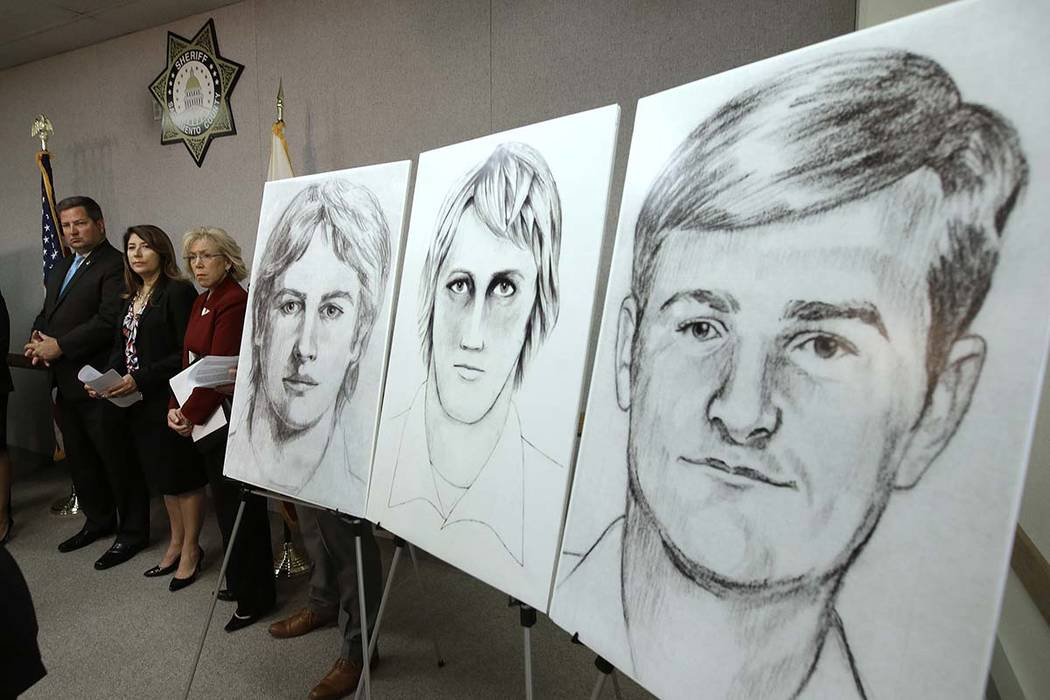 In this June 15, 2016, file photo, law enforcement drawings of a suspected serial killer believed to have committed at least 12 murders across California in the 1970s and 1980s are displayed at a ...