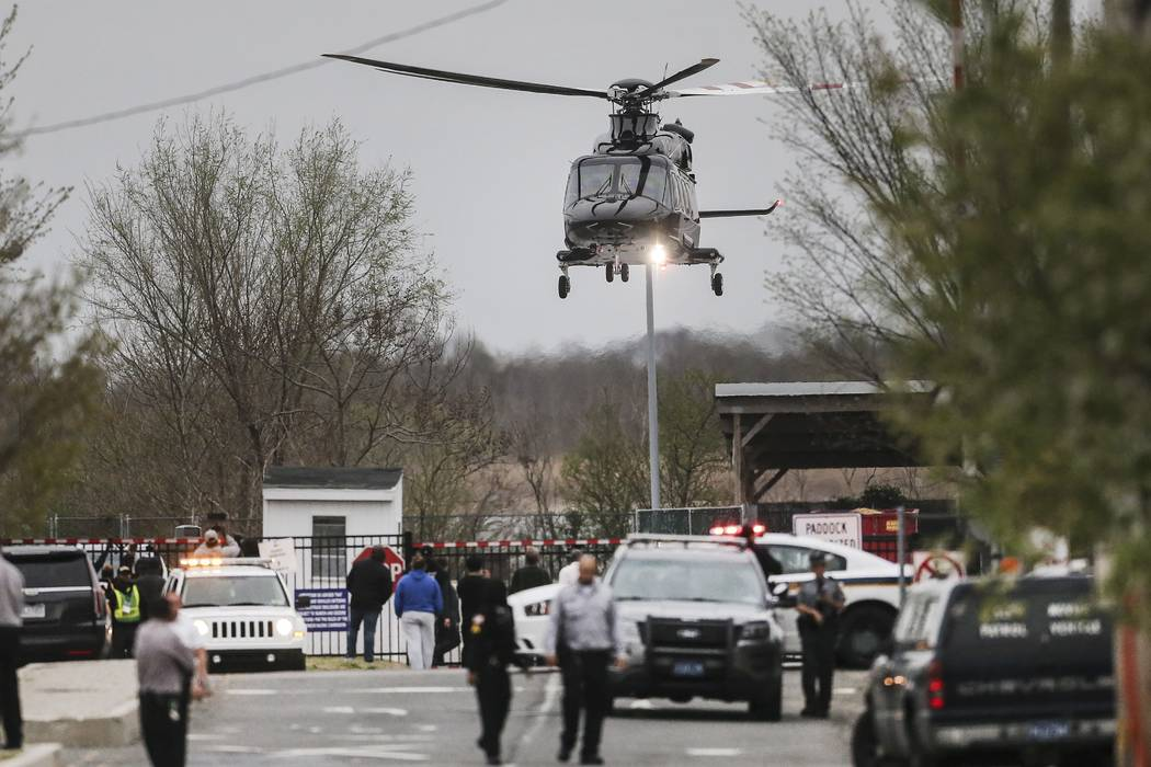 Rapper Meek Mills leaves in a helicopter from a nearby parking lot after being released from the State Correctional Institution in Chester, Pa., Tuesday, April 24, 2018. The rapper walked out of p ...