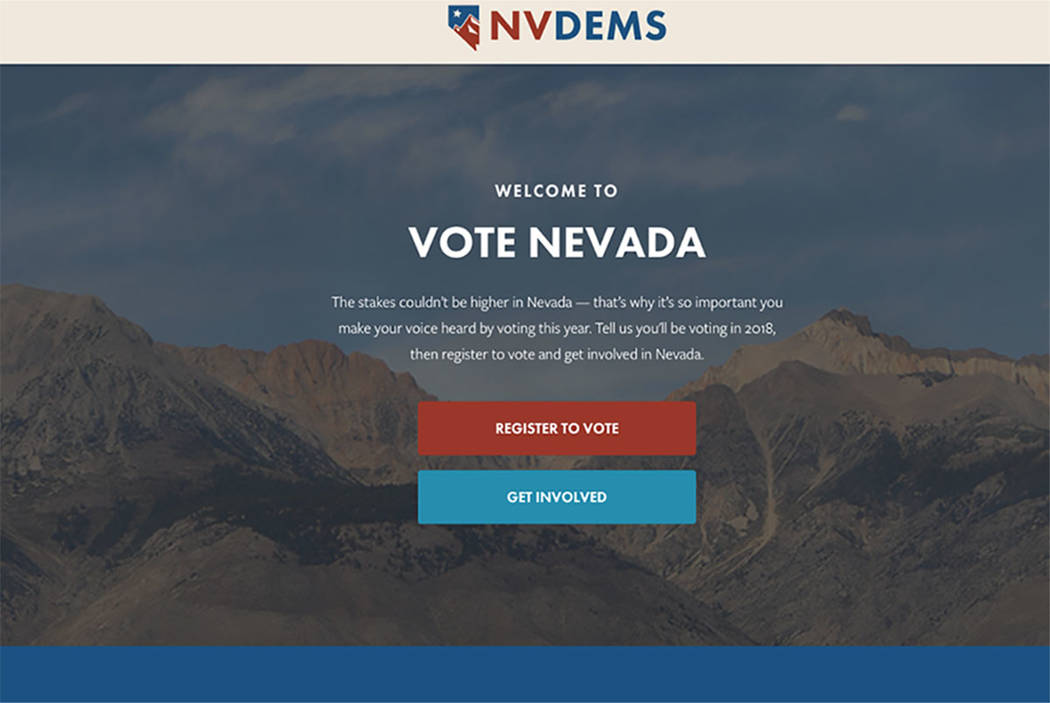 Nevada Democrats have launched a new website, Vote Nevada, a one-stop shop for voter registration, information and volunteer opportunities. (website screengrab)