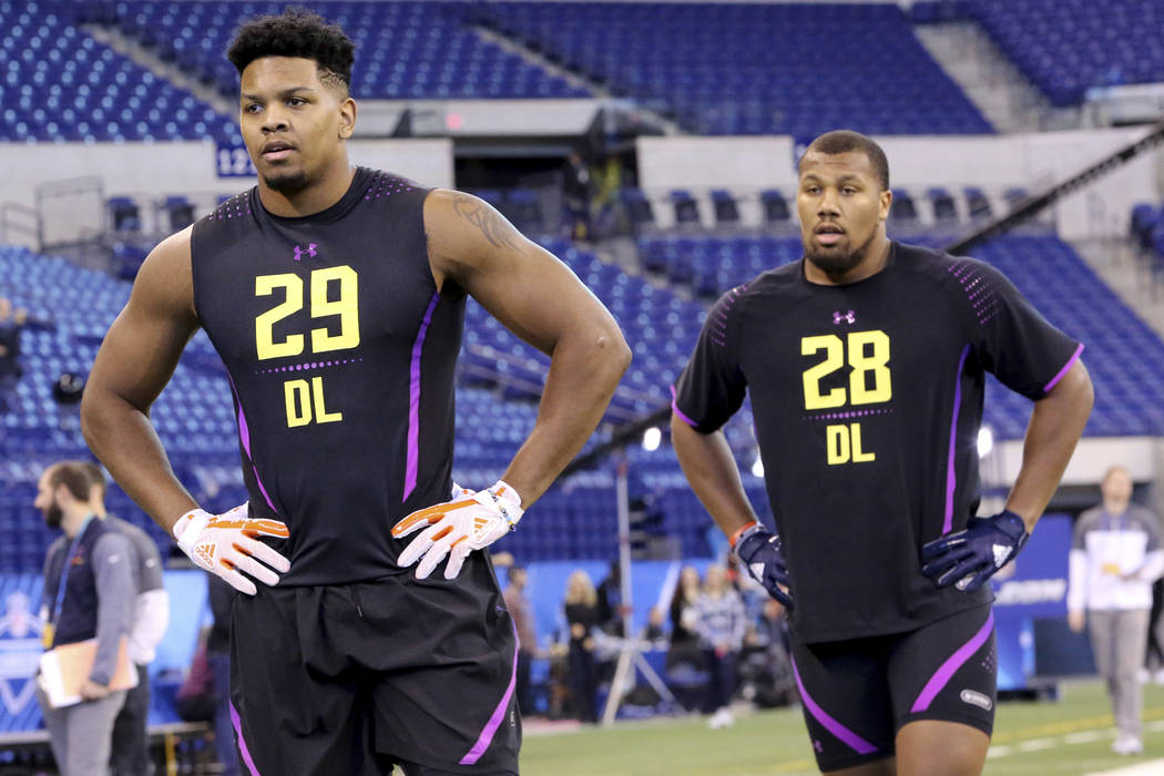 UTSA defensive lineman Marcus Davenport and North Carolina State defensive lineman Bradley Chubb are seen at the 2018 NFL Scouting Combine on Sunday, March 4, 2018, in Indianapolis. (AP Photo/Greg ...