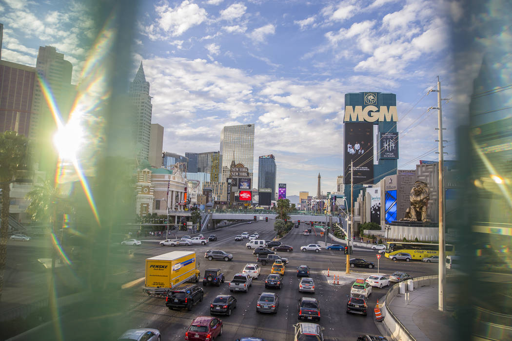 The Las Vegas Strip at dusk on Wednesday, April 25, 2018. Benjamin Hager Las Vegas Review-Journal @benjaminhphoto