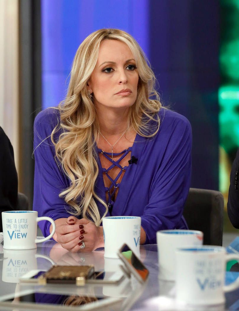 """This image released by ABC shows adult film actress Stormy Daniels during an appearance on the daytime talk show """"The View,"""" Tuesday, April 17, 2018, in New York. Daniels released a com ..."""