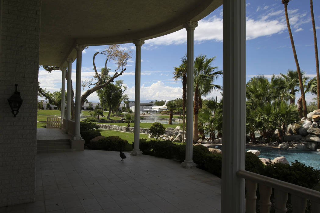 The backyard of Wayne Newton's former residence shown at the estate of the former Strip headliner Tuesday, Aug. 27, 2013. The majority owners of the 38-acre site at the corner of Sunset and Pecos ...