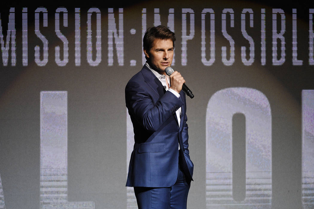 """Tom Cruise, star of the upcoming film """"Mission: Impossible - Fallout,"""" addresses the audience during the Paramount Pictures presentation at CinemaCon 2018, the official convention of the ..."""