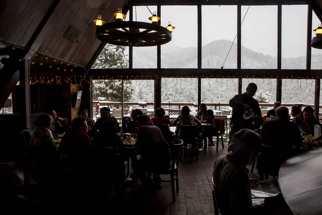 Customers eat and check out the views at the Mt. Charleston Lodge on Tuesday, May 1, 2018. Patrick Connolly Las Vegas Review-Journal @PConnPie