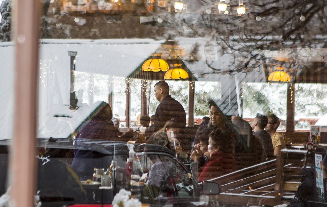 Restaurant-goers enjoy food inside the Mt. Charleston Lodge on Tuesday, May 1, 2018. Patrick Connolly Las Vegas Review-Journal @PConnPie