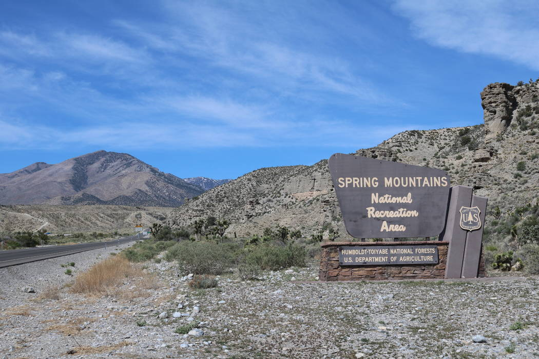 The Spring Mountain National Recreation Area sign is seen outside Las Vegas, Tuesday, April 24, 2018. (Madelyn Reese/Las Vegas Review-Journal)