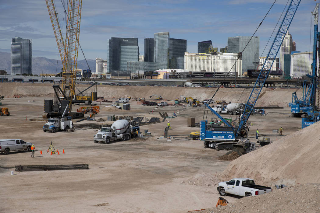 The site of the future Raiders stadium in Las Vegas, Friday, March 9, 2018. (Erik Verduzco Las Vegas Review-Journal)