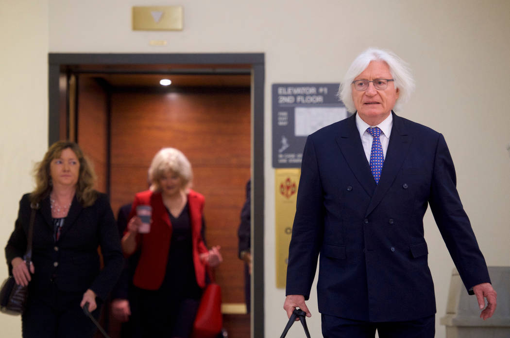 Bill Cosby's attorney Tom Mesereau arrives at the Montgomery County Courthouse for jury deliberations in Cosby's sexual assault retrial, Thursday, April, 26, 2018, in Norristown, Pa. (Mark Makela/AP)