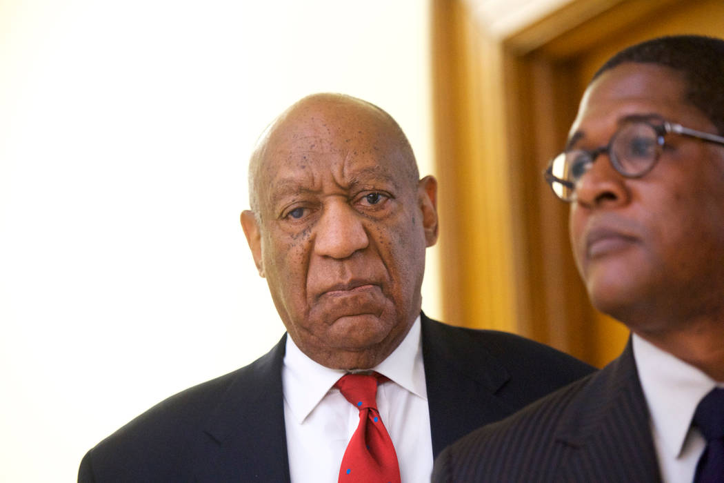Actor and comedian Bill Cosby reacts while being notified a verdict was in in his sexual assault retrial, Thursday, April, 26, 2018, at the Montgomery County Courthouse in Norristown, Pa. A jury c ...