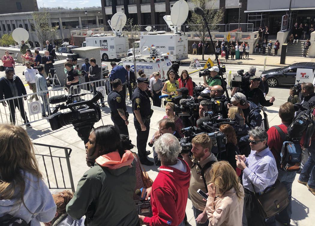 Media gather on the steps of the Montgomery County Courthouse after the jury came to a verdict on the sexual assault case of actor and comedian Bill Cosby on Thursday, April 26, 2018. Cosby was co ...