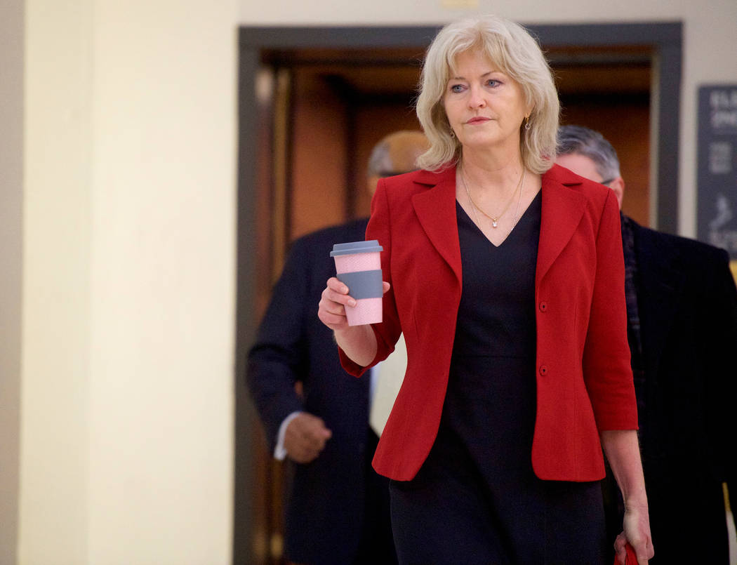 Bill Cosby's attorney Kathleen Bliss arrives at the Montgomery County Courthouse for jury deliberations in Cosby's sexual assault retrial, Thursday, April, 26, 2018, in Norristown, Pa. (Mark Makel ...