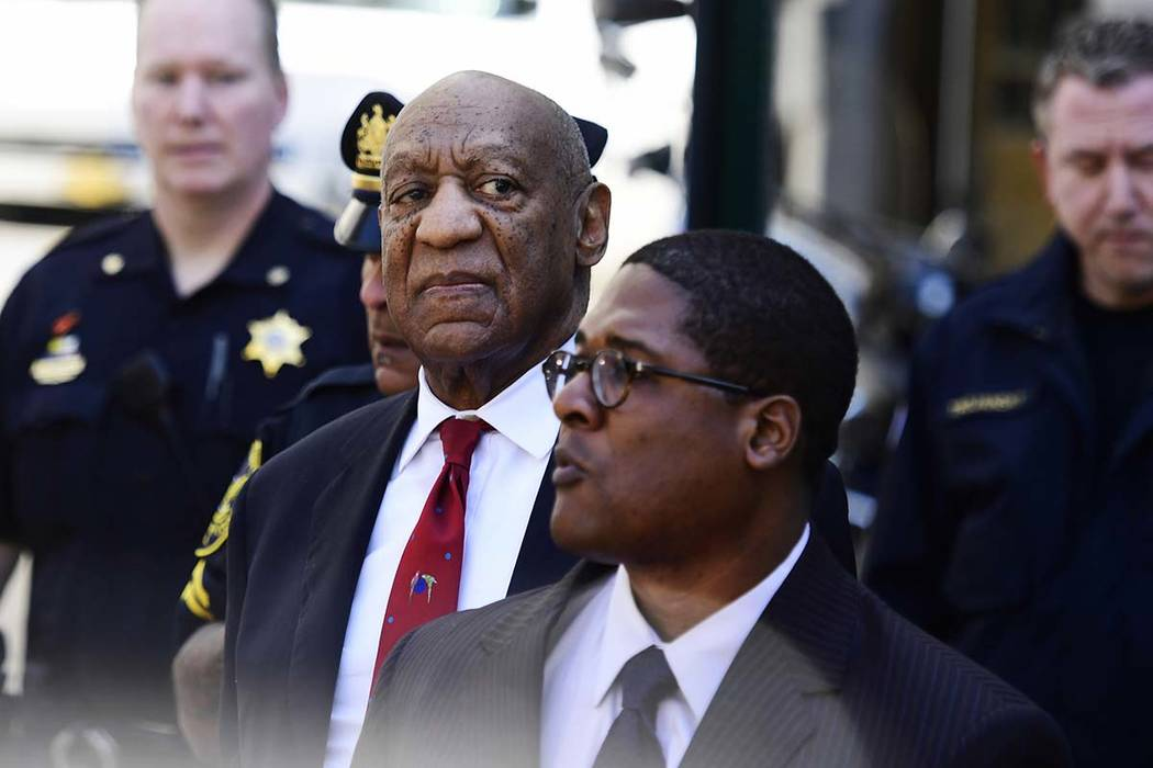 Bill Cosby looks around before he leaves the Montgomery County Courthouse, Thursday, April 26, 2018, in Norristown, Pennsylvania. Cosby was convicted Thursday of drugging and molesting a woman in ...