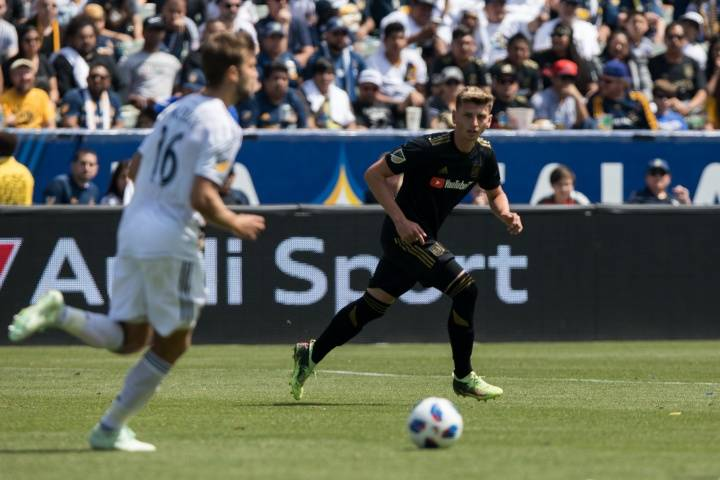 Bishop Gorman graduate Tristan Blackmon competes against the Los Angeles Galaxy on March 31 in Carson, Calif. (Los Angeles FC)