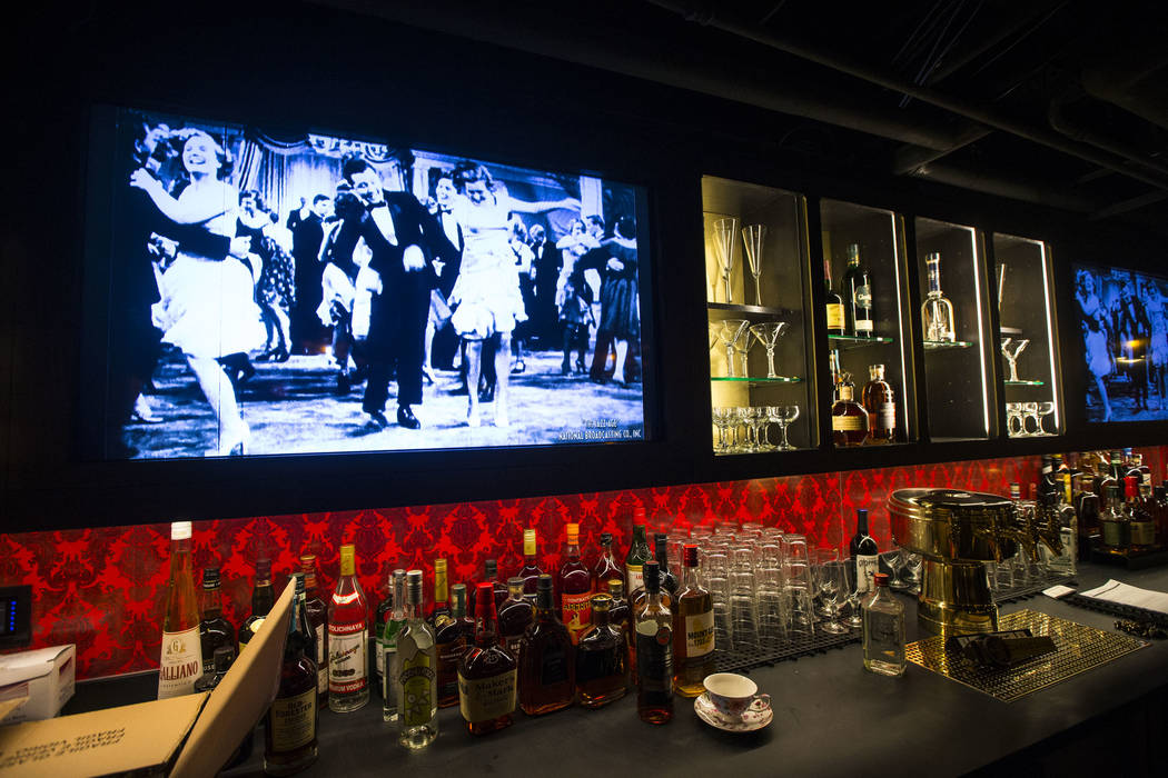 Final touches are made at the bar area of the speakeasy at The Underground at The Mob Museum in downtown Las Vegas on Saturday, April 14, 2018. The basement-level exhibition of the Prohibition era ...